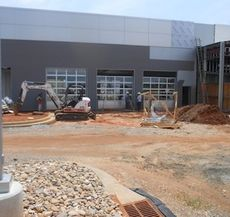 The service bays at the new D&D Ford location at 13645 E. Wade Hampton Blvd. give the dealership a face as construction continues on the state-of-the-art showroom facility.